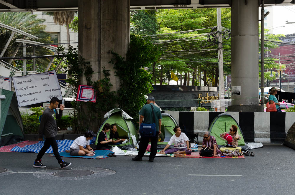 Demostration campside in Bangkok Asok