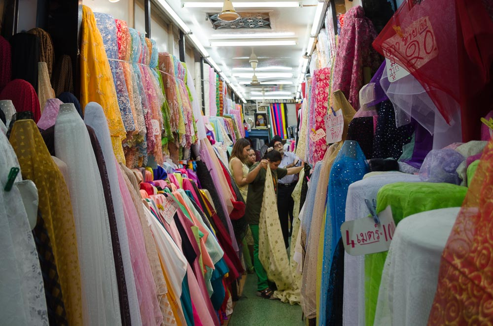 Stoffhändler in Bangkok Chinatown