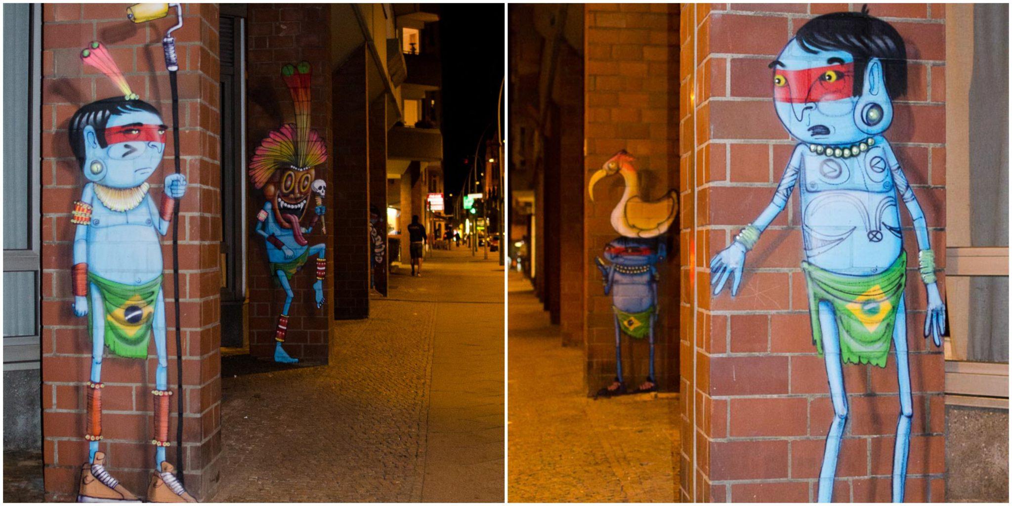 Streetart in Berlin: Blauer Indianer auf rotem Backstein vom Künstler Cranio